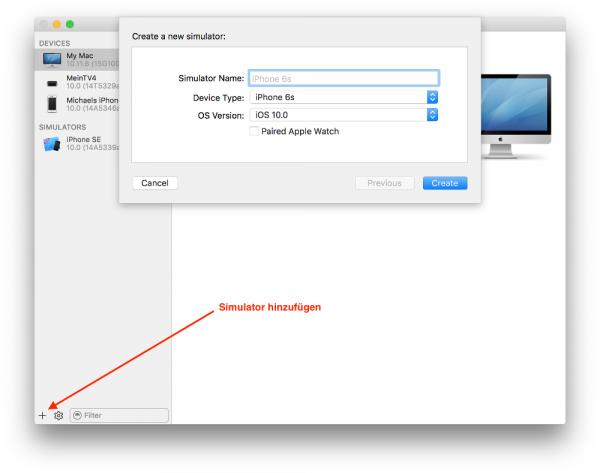 In Xcode ein neues Simulator-Gerät einrichten