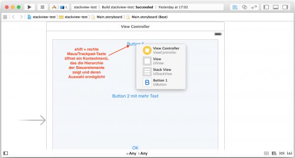 shift + rechte Maustaste bzw. Trackpadtaste öffnet ein Kontextmenü, das die Verschachtelung von Steuerelementen zeigt und die Auswahl verdeckter Steuerelemente ermöglicht