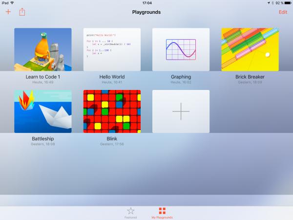 Losgelöst von den vorgegebenen Tutorials und Übungen können Sie    auch leere Playgrounds wie in Xcode erstellen.