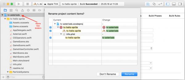 Wenn Sie den Projektnamen ändern, passt Xcode einige weitere Referenzen automatisch an.