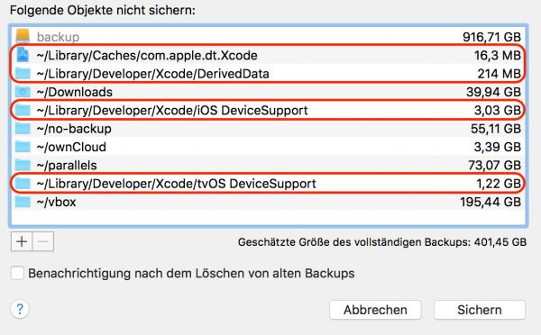 Bei Time-Machine-Backups einige Xcode-Verzeichnisse mit temporären Dateien ignorieren