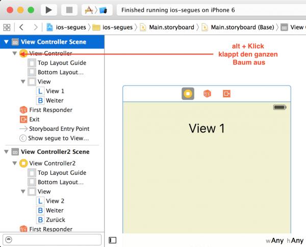 alt + Maustaste bzw. Trackpadtaste klappt einen ganzen Baum auseinander (nicht nur in Xcode ...)