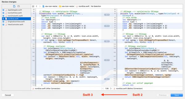 Der in Xcode integrierte Konvertier von Swift 2 zu Swift 3 funktioniert überraschend gut.
