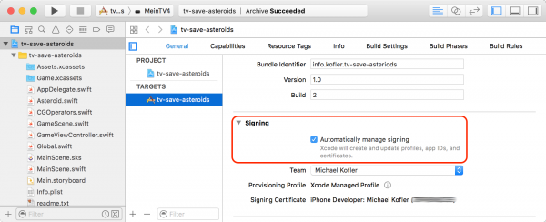 Das Signing von Apps bereitet in Xcode 8 weniger Probleme als bisher.